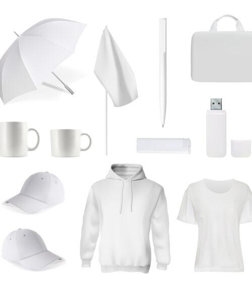 Branding white item. Corporate identity template, promotional gift. Realistic t-shirt, cap, bag, usb-flesh card, mug or cup, umbrella, pen, flag, sweatshirt illustration. Branding item mockup